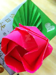 origami rose birthday card by chubbadoki on deviantart