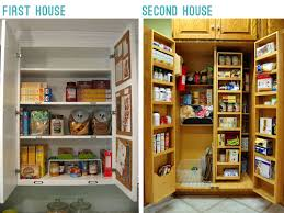 narrow depth kitchen storage cabinet adding shelves and a microwave to the pantry
