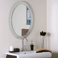 Beachy Bathroom Mirrors by Home Decoration Simple Oval Bathroom Frameless Mirror And Oval