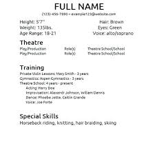 Resume Template For Actors by Acting Resume No Experience Template Beginner Acting Resume For