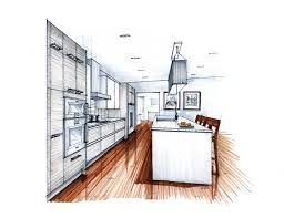 more recent kitchen renderings perspective hand drawn and