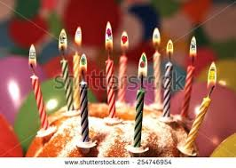 different birthday wishes inside flames on stock photo 254746954