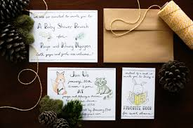 woodland baby shower invitations diy handlettered woodland themed baby shower invitations