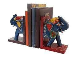 buy handicraft products online wooden elephant bookend home decor