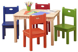 amazon childrens table and chairs amazon com ukid natural wood activity table and 4 bright chair set
