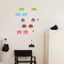 space invaders wall stickers retro decals wallboss wall stickers space invaders wall stickers