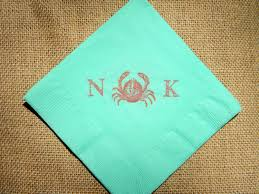 decor mint nautical personalized cocktail napkins for wedding