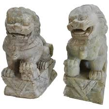foo lions for sale early 20th century pair of alabaster guardian foo dog lions at 1stdibs