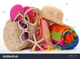 flip flop bag bag towelflip flops sunglasses stock photo 101940058