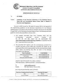 Consolidated Balance Sheet Template Bsp Memorandum No M 2014 026 Guidelines On The Electronic