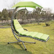 hanging swing chaise lounger chair with stand hammock canopy ebay