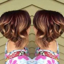 red brown long angled bobs short angled bob rich red base with golden blonde balayage