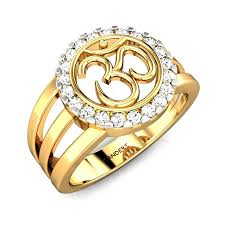 ring of men diamond yellow gold 18k candere om diamond ring candere