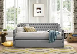 Twin Size Day Bed by Tulney Grey Finish Polyester Fabric Twin Size Daybed W Button