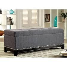furniture of america rachelson romantic tufted linen storage