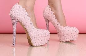 Light Pink Wedding Shoes Beautiful Vogue Light Pink Lace Silver Crytal High Heels Wedding