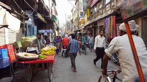 indian cart busy indian market street fruit cart bicycle rickshaws people