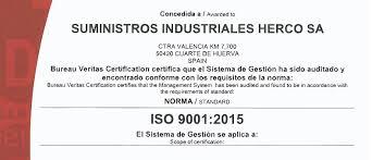 fluido bureau veritas suministros herco obtiene el certificado iso 9001 2015 últimas