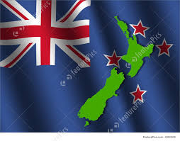 Nee Zealand Flag New Zealand Map On Flag Illustration