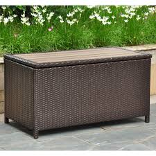 Outdoor Storage Coffee Table International Caravan Barcelona 42 In Resin Wicker 80 Gallon