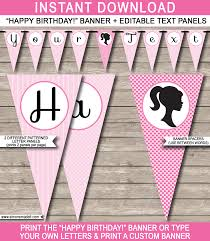 barbie party banner template birthday banner editable bunting