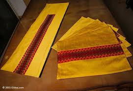 table runner placemat set buy golden handmade silk ethnic table runner 1 and placemat 6