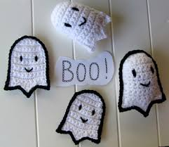 halloween coasters pattern crochet ghost appliques and stuffed plushies instant