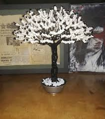 unique black and white wire tree bonsai gemstones in a vintage metal