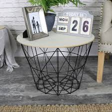 Wire Side Table Black Metal Wire Basket Wooden Top Side Table Melody Maison