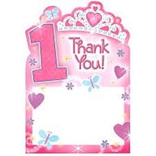 1st birthday princess thank you notes