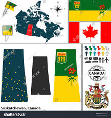 Saskatchewan Flag Vector Map State Saskatchewan Coat Arms Stock Vector 326931215