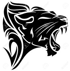 roaring black and white tribal design royalty free cliparts