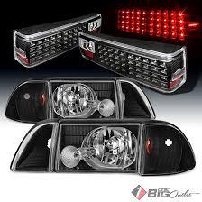 ebay mustang headlights for 87 93 mustang black aftermarket headlights led lights w