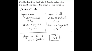 leading determine end behavior using the leading coefficient test youtube