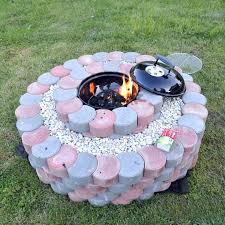 Firepit Stones Pit Blocks Barbecue Grill Set In Blocks And Stones Pit
