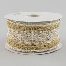 burlap and lace ribbon 2 5 burlap white lace ribbon 10 yards rn4742 craftoutlet