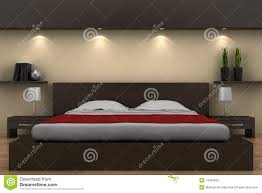 Schlafzimmerm El Betten Modernes Schlafzimmer Mit Braunem Bett Stock Abbildung Bild