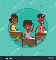 Student Desks For Classroom by Student Raising Hand Classroom Answer Student Stock Vector