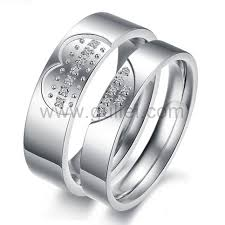 couples rings heart images Names engraved 2 broken heart promise couples rings for 2 jpg