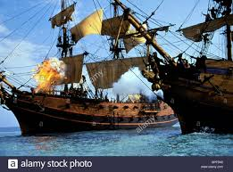 pirate ship battle scene cutthroat island 1995 stock photo
