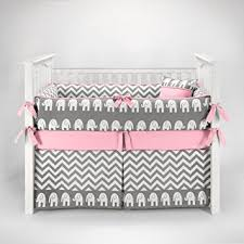Gray And Pink Crib Bedding Elephant Chevron Zig Zag Gray Pink Baby Bedding