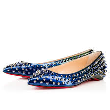 christian louboutin pigalle spikes flat leather shoe redsole