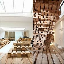 Interesting Home Decor Ideas by Wonderful Pallet Design With Wood Material Plus White Door Side