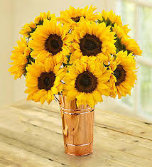 Vase Of Sunflowers Sunflower Bouquet 1800flowers Com 95044