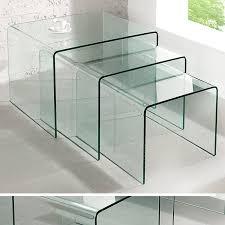 Wohnzimmertisch Novel 3er Set Glas Couchtisch Ghost 60cm Beistelltische Transparent