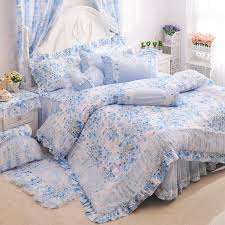 Ruffle Bed Set Cherry Blossom Flowers Girls Ruffle Tulle Bedding Sets Girls Lace