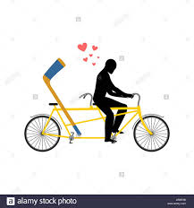 lover hockey hockey stick on bicycle lovers of cycling man