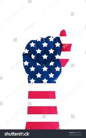 Us Flag Facts Hand Making Fist Us Flag Overlaying Stock Illustration 49525519