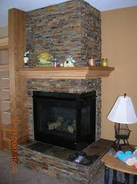interior awesome natural stone corner fireplace with chic white