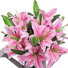 Flowers For Wedding Amazon Com Sweet Home Deco 22 U0027 U0027 Silk Stargazer Lily Artificial